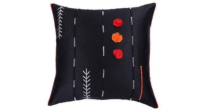 "Aeryn Cushion Cover - Set of 2 (Black, 41 x 41 cm  (16"" X 16"") Cushion Size) by Urban Ladder - Design 1 Details - 320016"