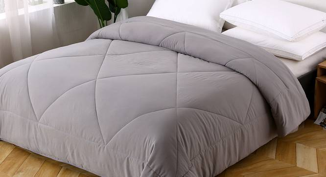 Camille Comforter (Grey, Double Size) by Urban Ladder - Design 1 Top View - 320381