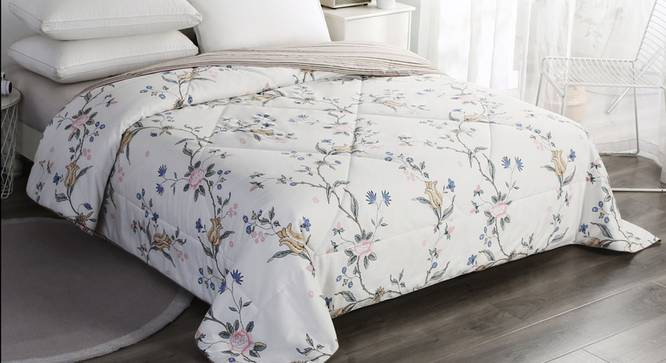 Cecily Comforter (White, Double Size) by Urban Ladder - Design 1 Top View - 320388