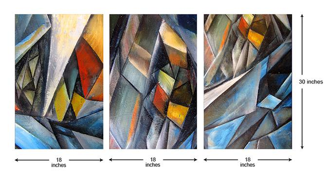Raine Wall Art-Set of 3 by Urban Ladder - Cross View Design 1 - 320465