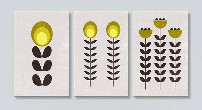 Lima Wall Art-Set of 3 (White) by Urban Ladder - Front View Design 1 - 320479