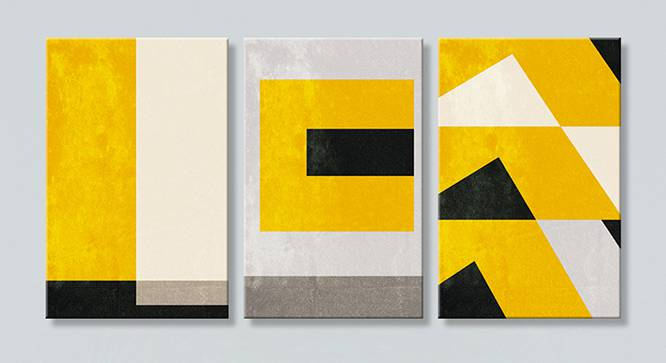 Pine Wall Art-Set of 3 (Yellow) by Urban Ladder - Front View Design 1 - 320482