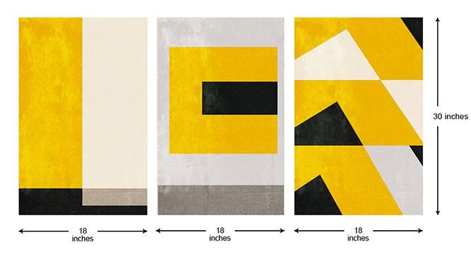 Pine Wall Art-Set of 3 (Yellow) by Urban Ladder - Cross View Design 1 - 320483