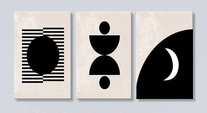 Jenise Wall Art-Set of 3 (Black) by Urban Ladder - Front View Design 1 - 320490