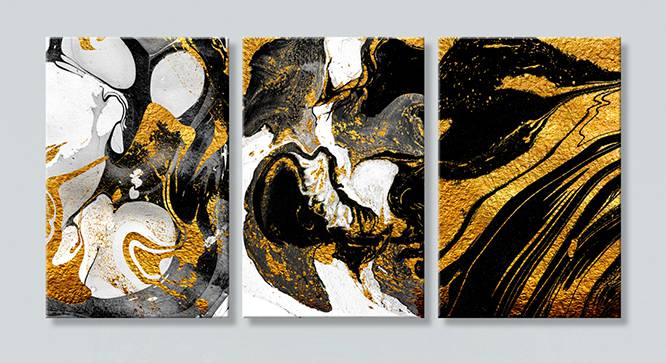 Victoria Wall Art-Set of 3 (Black) by Urban Ladder - Front View Design 1 - 320497