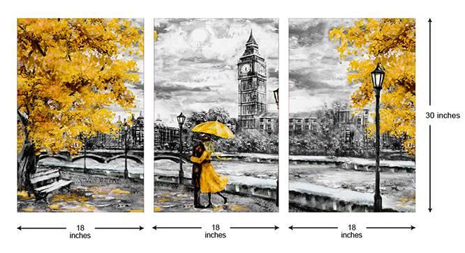 Fanera Wall Art-Set of 3 (Grey) by Urban Ladder - Cross View Design 1 - 320521