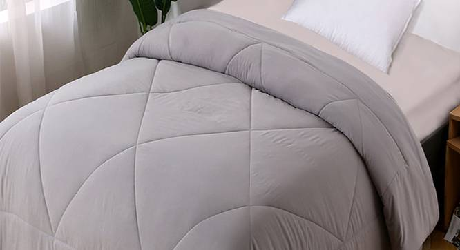 Daphne Comforter (Grey, Single Size) by Urban Ladder - Design 1 Top View - 320643