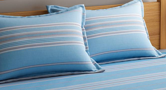 Domenico  Bedsheet Set (King Size, Turquoise Blue) by Urban Ladder - Design 1 Top View - 320655