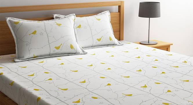 Dirac Bedsheet Set (White, Double Size) by Urban Ladder - Design 1 Details - 321030