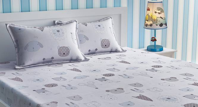 Arnold Bedsheet Set (White, Double Size) by Urban Ladder - Design 1 Details - 321060
