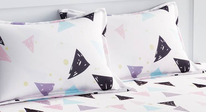 Caroll Bedsheet Set (White, Double Size) by Urban Ladder - Design 1 Top View - 321085