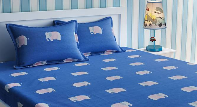 Amy Bedsheet Set (Blue, Double Size) by Urban Ladder - Design 1 Top View - 321141