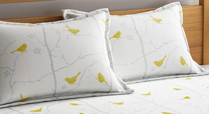 Colette Bedsheet Set (White, King Size) by Urban Ladder - Design 1 Top View - 321249