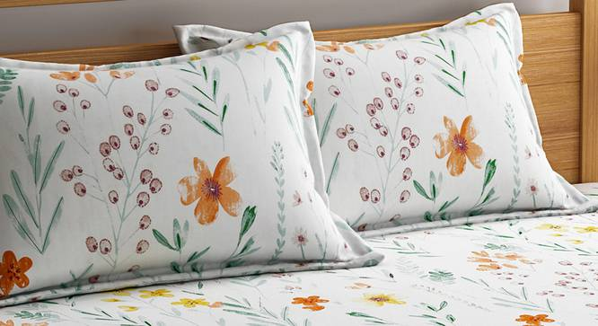 Remy Bedsheet Set (White, King Size) by Urban Ladder - Design 1 Top View - 321254