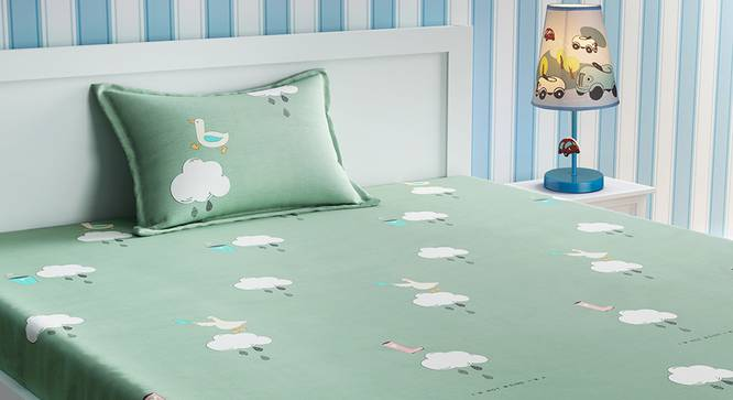 Lona Bedsheet Set (Green, Single Size) by Urban Ladder - Design 1 Details - 321505