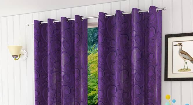 "Alandra Door Curtain - Set Of 2 (Purple, 112 x 213 cm  (44"" x 84"") Curtain Size) by Urban Ladder - Design 1 Half View - 321548"