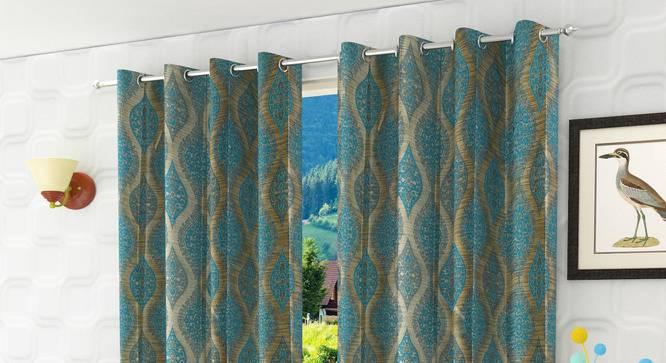 "Ava Door Curtain - Set Of 2 (Blue, 112 x 213 cm  (44"" x 84"") Curtain Size) by Urban Ladder - Design 1 Half View - 321600"