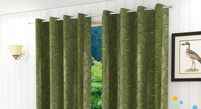 "Belmira Door Curtain - Set Of 2 (Green, 112 x 274 cm  (44"" x 108"") Curtain Size) by Urban Ladder - Design 1 Half View - 321608"