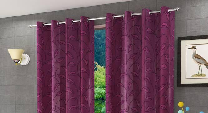 "Belmira Door Curtain - Set Of 2 (Pink, 112 x 274 cm  (44"" x 108"") Curtain Size) by Urban Ladder - Design 1 Half View - 321616"