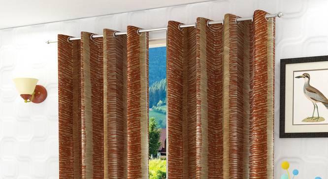 "Cecilia Door Curtain - Set Of 2 (Orange, 112 x 274 cm  (44"" x 108"") Curtain Size) by Urban Ladder - Design 1 Half View - 321632"