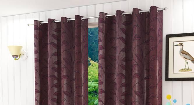 "Belmira Window Curtain - Set Of 2 (Wine, 112 x 152 cm  (44"" x 60"") Curtain Size) by Urban Ladder - Design 1 Half View - 321652"
