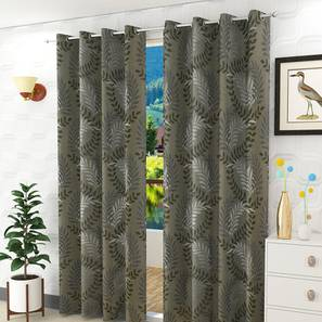 "Clara Door Curtain - Set Of 2 (Grey, 112 x 274 cm  (44"" x 108"") Curtain Size) by Urban Ladder - Design 1 Half View - 321673"