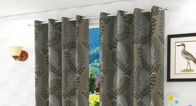 "Clara Window Curtain - Set Of 2 (Grey, 112 x 152 cm  (44"" x 60"") Curtain Size) by Urban Ladder - Design 1 Half View - 321682"