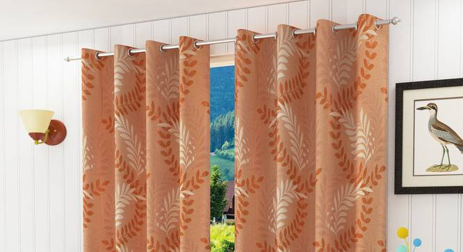 "Clara Window Curtain - Set Of 2 (Orange, 112 x 152 cm  (44"" x 60"") Curtain Size) by Urban Ladder - Design 1 Half View - 321689"