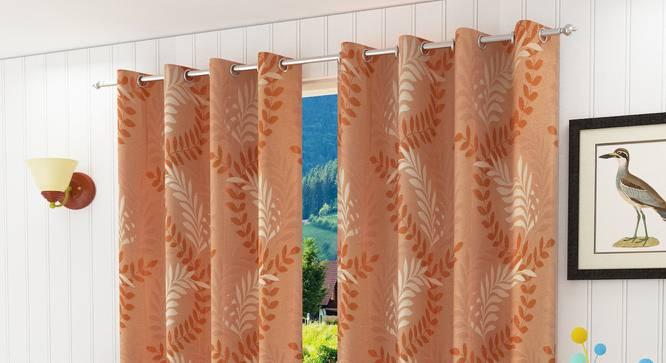 """Clara Door Curtain - Set Of 2 (Orange, 112 x 274 cm  (44"""" x 108"""") Curtain Size) by Urban Ladder - Design 1 Half View - 321690"""