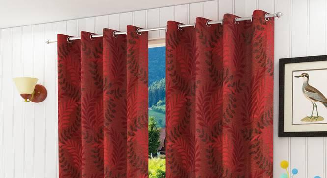 "Clara Door Curtain - Set Of 2 (Red, 112 x 213 cm  (44"" x 84"") Curtain Size) by Urban Ladder - Design 1 Half View - 321698"