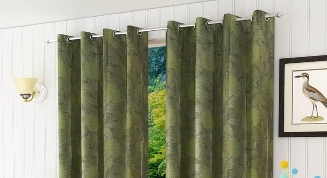 "Fernanda Door Curtain - Set Of 2 (Green, 112 x 274 cm  (44"" x 108"") Curtain Size) by Urban Ladder - Design 1 Half View - 321729"