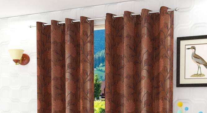 "Fernanda Door Curtain - Set Of 2 (Rust, 112 x 213 cm  (44"" x 84"") Curtain Size) by Urban Ladder - Design 1 Half View - 321742"