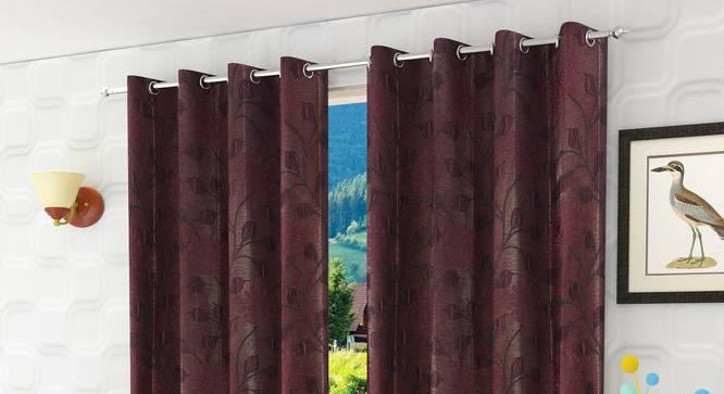 "Fernanda Window Curtain - Set Of 2 (Wine, 112 x 152 cm  (44"" x 60"") Curtain Size) by Urban Ladder - Design 1 Half View - 321772"