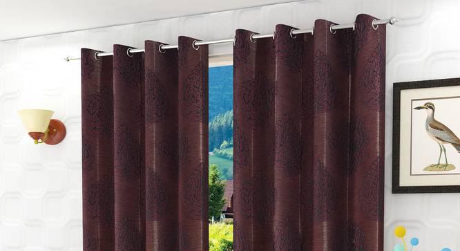 "Glaucia Door Curtain - Set Of 2 (Wine, 112 x 274 cm  (44"" x 108"") Curtain Size) by Urban Ladder - Design 1 Half View - 321776"