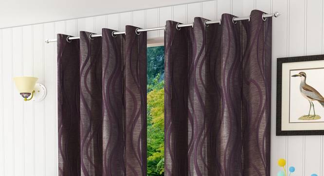"Kacey Door Curtain - Set Of 2 (Wine, 112 x 274 cm  (44"" x 108"") Curtain Size) by Urban Ladder - Design 1 Half View - 321867"