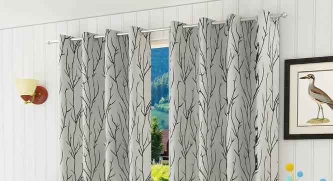"Juniper Door Curtain - Set Of 2 (Black, 112 x 213 cm  (44"" x 84"") Curtain Size) by Urban Ladder - Design 1 Half View - 321871"