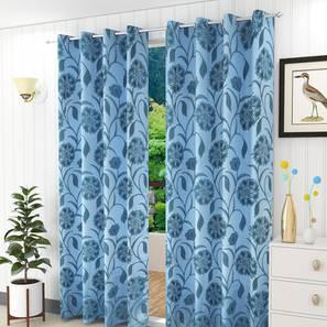 "Kaia Door Curtain - Set Of 2 (Blue, 112 x 274 cm  (44"" x 108"") Curtain Size) by Urban Ladder - Design 1 Half View - 321885"