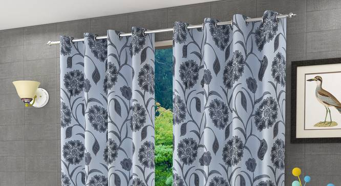 "Kaia Door Curtain - Set Of 2 (Grey, 112 x 274 cm  (44"" x 108"") Curtain Size) by Urban Ladder - Design 1 Half View - 321911"