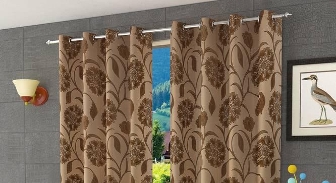 "Kaia Window Curtain - Set Of 2 (Gold, 112 x 152 cm  (44"" x 60"") Curtain Size) by Urban Ladder - Design 1 Half View - 321914"