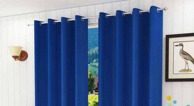 "Lillian Door Curtain - Set Of 2 (Blue, 112 x 274 cm  (44"" x 108"") Curtain Size) by Urban Ladder - Design 1 Half View - 321950"