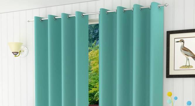 "Lillian Door Curtain - Set Of 2 (Aqua, 112 x 274 cm  (44"" x 108"") Curtain Size) by Urban Ladder - Design 1 Half View - 321961"