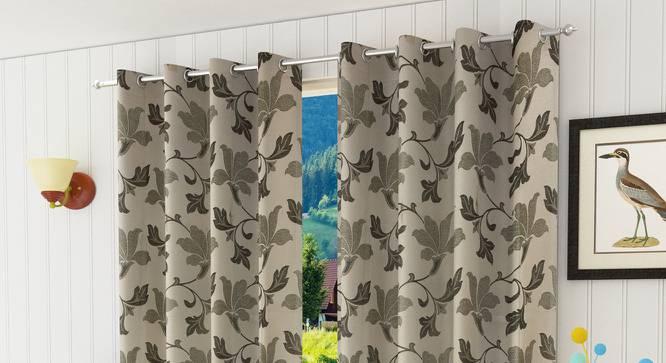 "Lillian Door Curtain - Set Of 2 (Brown, 112 x 274 cm  (44"" x 108"") Curtain Size) by Urban Ladder - Design 1 Half View - 321965"