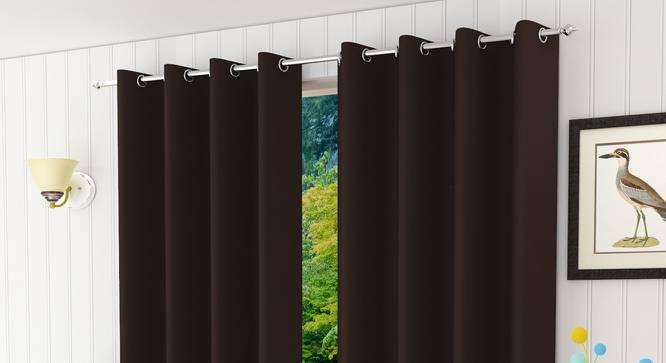 "Lillian Door Curtain - Set Of 2 (Coffee, 112 x 213 cm  (44"" x 84"") Curtain Size) by Urban Ladder - Design 1 Half View - 321973"