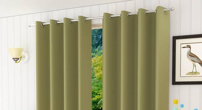 "Lillian Door Curtain - Set Of 2 (Green, 112 x 213 cm  (44"" x 84"") Curtain Size) by Urban Ladder - Design 1 Half View - 321989"