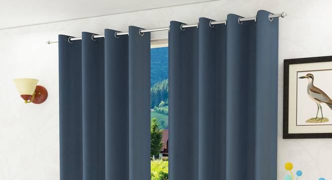 "Lillian Door Curtain - Set Of 2 (Dark Grey, 112 x 213 cm  (44"" x 84"") Curtain Size) by Urban Ladder - Design 1 Half View - 321992"