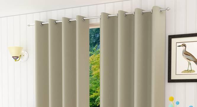 "Lillian Door Curtain - Set Of 2 (Grey, 112 x 274 cm  (44"" x 108"") Curtain Size) by Urban Ladder - Design 1 Half View - 322009"