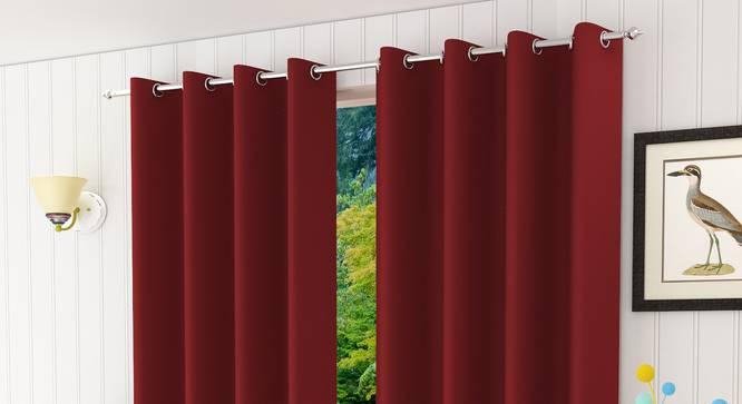 "Lillian Door Curtain - Set Of 2 (Maroon, 112 x 213 cm  (44"" x 84"") Curtain Size) by Urban Ladder - Design 1 Half View - 322013"