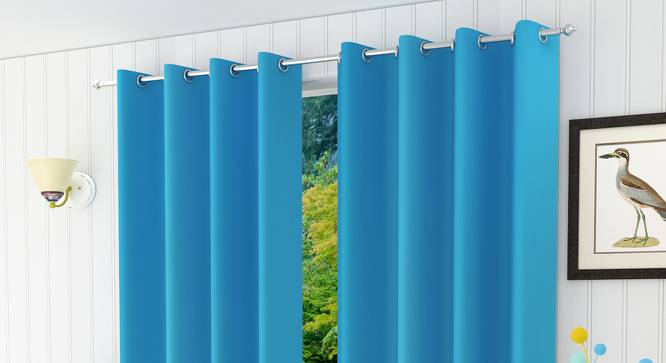 """Lillian Door Curtain - Set Of 2 (Turquoise Blue, 112 x 274 cm  (44"""" x 108"""") Curtain Size) by Urban Ladder - Design 1 Half View - 322037"""