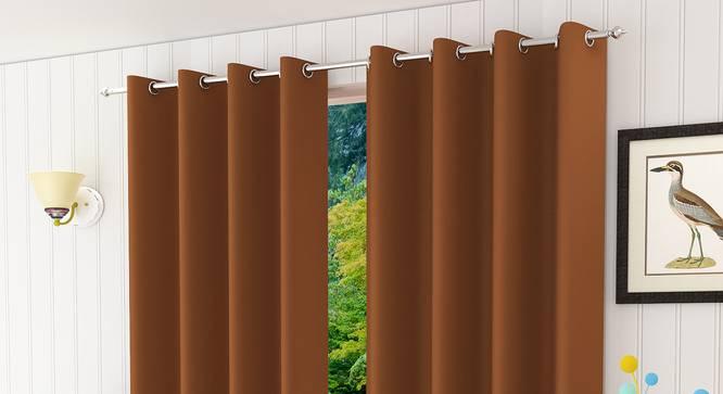 "Lillian Door Curtain - Set Of 2 (Rust, 112 x 274 cm  (44"" x 108"") Curtain Size) by Urban Ladder - Design 1 Half View - 322045"