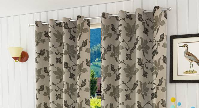 "Lillian Window Curtain - Set Of 2 (Brown, 112 x 152 cm  (44"" x 60"") Curtain Size) by Urban Ladder - Design 1 Half View - 322065"
